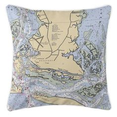Beaufort North Carolina Nautical Chart Pillow