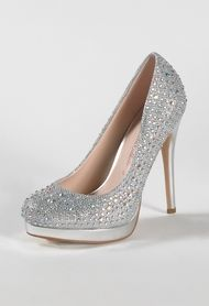 High Heel Sparkle Pump with Stones and Platform