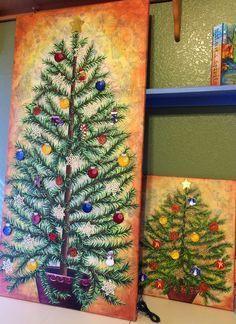 PaperOcotilloStudio: Lighted christmas tree canvas - mixed media