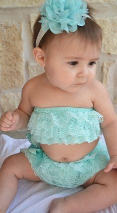Mint Bikini Romper...Photography Prop...Newborn Photos....Baby Girl...Baby lace romper on Etsy, $17.50