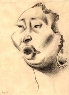 Artist: Lukáš, František (1911-1996). Heda Grabová-Krenmayer, Theresienstadt Ghetto, 1941-1944. Mezzo-soprano opera singer.  Born in 1899. Lived in Prague. On December 17, 1941 deported to the Theresienstadt Ghetto. Survived. Charcoal on paper 29.5X21.7 cm