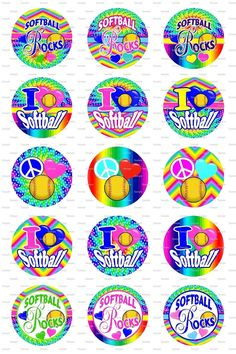 Softball Bright Bottle Cap Images 4x6 Bottlecap by designsbyPM, $2.00