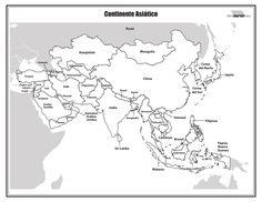 Mapa del continente asiático con nombres para imprimir