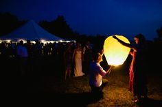 End to a perfect wedding on Chebeague Island Maine, a paper lantern send-off.