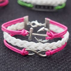 Anchor & Infinity Bracelet Charm Silver Pink Wax Cords Imitation Leather Braided Bracelet-Best Gift Personalized Women Friendship Jewelry