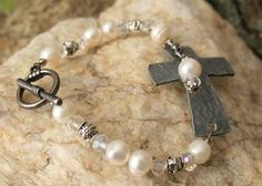 Rustic Wedding Bracelet Sideways Cross Pearl by Circle25Designs, $45.00