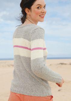Pullover mit breitem Streifen, Garnpaket zu Modell 17 aus Rebecca Nr. 61, gestrickt aus  ggh-Garn MUSSANTE