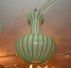 Green and white glass ceiling fixture | From a unique collection of antique and modern chandeliers and pendants  at http://www.1stdibs.com/furniture/lighting/chandeliers-pendant-lights/