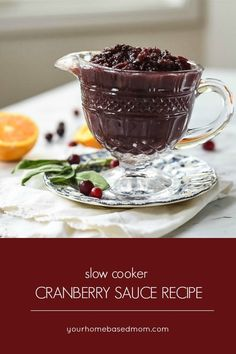 Slow Cooker Cranberry Sauce Recipe - this is perfect for any holiday meal and can easily be made a few days ahead and refrigerated until you are ready to serve it. Best Crockpot Recipes, Fall Recipes, Slow Cooker Recipes, Holiday Recipes, Thanksgiving Food Crafts, Breakfast Recipes, Dessert Recipes, Good Food, Yummy Food