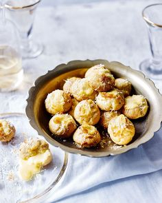 Think profiterole meets welsh rarebit and you get these oozy, boozy and very cheesy gougères. Serve as indulgent canapés for a party.