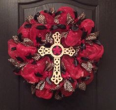 Red, Black, and Cheetah Print Deco Mesh Wreath with Cross