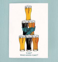 Birthday Card humorous card beer card by MichelleBaronStudio