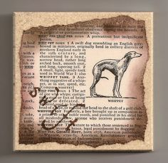 Whippet Drink Coaster Vintage 1951 Dictionary Page by AmySueCrafts, $9.99