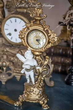 Antique Cherub Clock Painted SpelterWinged Cupid by edithandevelyn