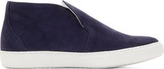 Pierre Hardy Navy Nubuck Slip-On Sneakers