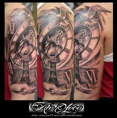 lighthouse clock tattoo