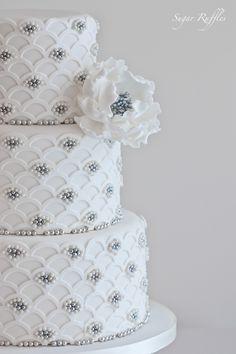 Sugar Ruffles, Elegant Wedding Cakes. Barrow in Furness and the Lake District, Cumbria: Silver Scalloped Wedding Cake