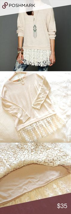 "[Free People Beach] Cream Shake It Lace Hem Top Beautiful and soft lace hem oatmeal pullover from Free People Beach! Perfect for throwing on amd staying warm on a cool summer evening.  Top is 25"" long with a 26"" bust and 17"" sleeves. There is 10"" of lace at the bottom.  Top is in excellent condition! Free People Tops Sweatshirts & Hoodies"