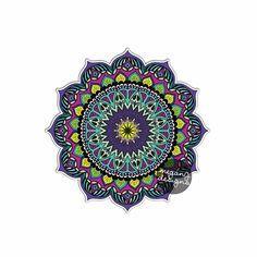 Earthy Mandala Sticker - Colorful Car Decal Vinyl Bumper Sticker Religious Symbol Yoga Car Decal Yantra Cosmos Universe Purple Blue Wall Art (7.99 USD) by MeganJDesigns