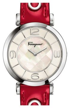 Salvatore Ferragamo 'Gancino Deco' Leather Strap Watch, 39mm available at #Nordstrom