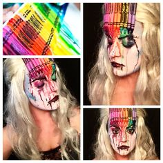 This melted crayon inspired makeup is Hands down THE MOST UNCOMFORTABLE MAKEUP EVER!!!!! So damn itchy and it kept getting in my nose and mouth and eyes  however, I'm quite happy with the way it came out. #day29 #100daysofmakeup #makeupchallenge #mua #sfx #sfxmakeup #crayon #inspired #colorful #itchy #meltedcrayon #makeup