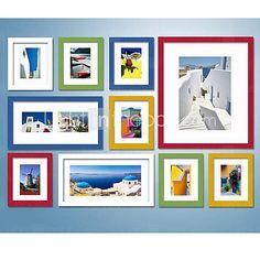 Coleção de quadros de parede coloridos.