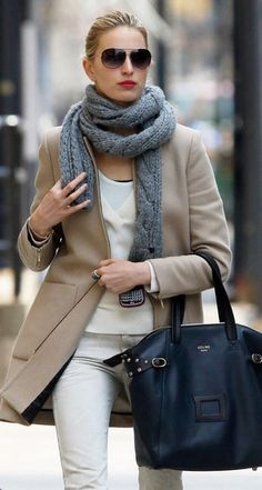 Love the grey scarf. Must knit one for this season