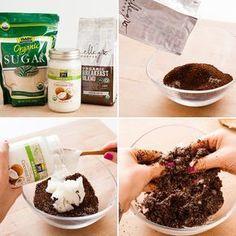 Mezcla para hacer un exfoliante natural con café y crema de coco