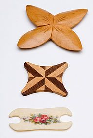 Sewing thread winders made of wood, inlay and bone