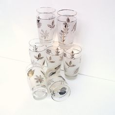 old drinking glasses | Vintage Drinking Glasses Libbey Glassware Mid Century Barware Frosted ...