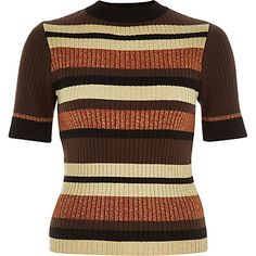 Brown ribbed metallic stripe top 33,00 €