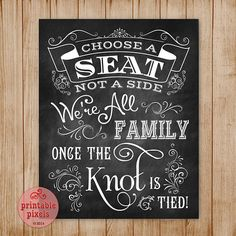 Chalkboard 8x10 Wedding Sign Choose A Seat Not A Side Retro Victorian Antique Rustic Instant Download Printable