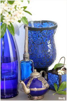 Blue old bottle and antique