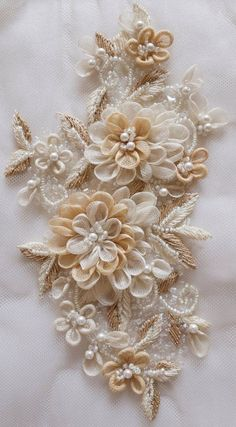 Flower Embroidery Design Motif with hand-made silk organza flowers and pearls - Hand Embroidery Dress, Tambour Embroidery, Hand Embroidery Tutorial, Couture Embroidery, Japanese Embroidery, Silk Ribbon Embroidery, Hand Embroidery Designs, Vintage Embroidery, Embroidery Patterns