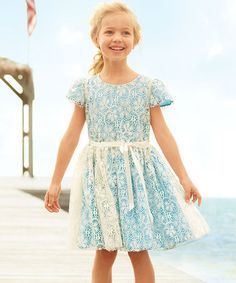 Love this Blue Vintage Lace Cap-Sleeve Dress - Toddler & Girls by chasing fireflies on #zulily! #zulilyfinds