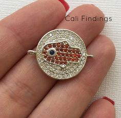 Large Rhodium Plated Round Hamsa Connector Rhodium by CaliFindings