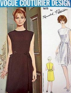 1960s UNIQUE Cocktail Party Evening Dress Pattern VOGUE Couturier Design 1615 Ronald Paterson Tunic Dress Daring Open Slit Back Bust 31 Vintage Sewing Pattern
