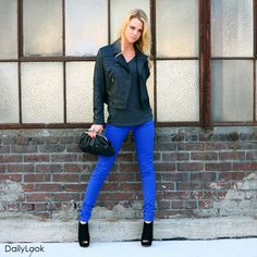 One of the big hits this F/W in fashion is bright colors, and denims aren't an exception. With royal blue being the new 'it' transition color, rock it with neutral over-sized tops, leather jackets, and accessories to balance out the brightness of the jeans. Buy this look at: www.dailylook.com...