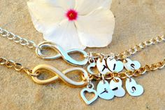 infinity, personalized infinity bracelet anklet,Infinity Bracelet, mom and daughter, initial Bracelet, Sister Bracelets, bridal jewelry on Etsy, $36.00