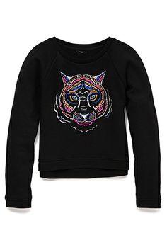 Wild Cat Beaded Sweatshirt (Kids) | FOREVER21 girls - 2000093206