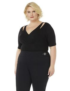 Curvy Collection Fearless Bodysuit | Catherines Plus Sizes: Fashion-forward and ultra-flattering, this bodysuit hugs your curves and makes outfitting a breeze. The top features a spliced detail that shows a hint of skin, empire waist seaming and soft pleating at the bust. Finished with a snap closure. V-neckline. Three-quarter sleeves. All of the pieces from our Curvy Collection have a body-conscious fit.