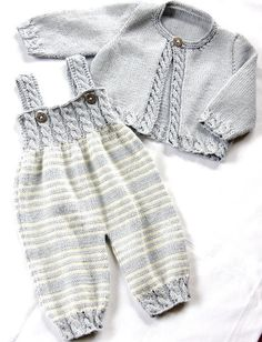 Baby Overalls with detailed cabled bodice and matching sweater - Zopfstrampler m. - - Baby Overalls with detailed cabled bodice and matching sweater - Zopfstrampler mit passendem Jäckchen Baby Overalls with detailed cabled bodice and ma. Baby Knitting Patterns, Love Knitting, Knitting For Kids, Baby Patterns, Dress Patterns, Baby Overalls, Baby Jumpsuit, Matching Sweaters, Baby Sweaters