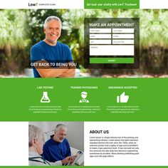 responsive low testosterone online appointment booking landing page