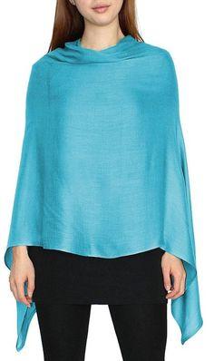 Eleganter Poncho / Cape für Damen aus weicher Viskose in 9 edlen Farben - WJ024 (WJ024-Himmelblau)