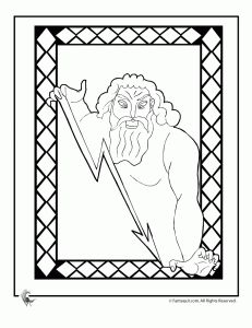 greek myths zeus 231x300 Ancient Greek Gods and Greek Heroes Coloring Pages