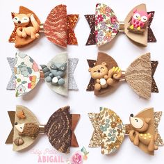 hair bows Limited Edition Woodland Animals Bow These bows are width and our limited edition autumn collection. Each animals are handmade and its a clay. We only have 2 pcs for eac Handmade Hair Bows, Diy Hair Bows, Bow Hair Clips, Handmade Crafts, Handmade Rugs, Diy Bow, Diy Ribbon, Ribbon Crafts, Animal Bows