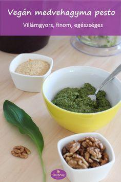 Vegán medvehagyma pesto Pesto, Cereal, Bacon, Veggies, Vegetarian, Vegan, Chicken, Breakfast, Food
