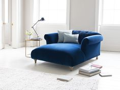 Dixie love seat chaise in our Midnight plush velvet