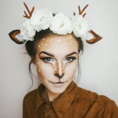 Lots of inspiration, diy & makeup tutorials and all accessories you need to create your own DIY Deer Costume for Halloween. Lots of inspiration, diy & makeup tutorials and all accessories you need to create your own DIY Deer Costume for Halloween. Deer Halloween Costumes, Cute Halloween Makeup, Halloween Makeup Looks, Halloween Diy, Halloween Costumes Women Creative, Reindeer Costume, Halloween Tutorial, Fun Costumes For Women, Halloween Costumes For Tweens