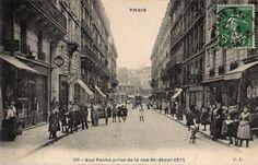 Rue Pache prise de la rue St-Maur, XIème arrondissement, Paris, circa 1909.